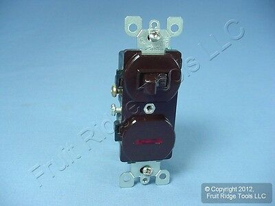Leviton Brown Commercial Toggle Wall Light Switch & Pilot Light Duplex Bulk 5226