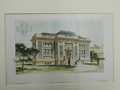 Design for Library for the University of Maine, ME, 1905. F.A. Bourne.