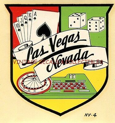 Vintage Travel Decal Las Vegas Nevada State Souvenir Original Waterslide Casino