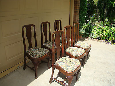 Antique English Oak Tapestry Dining Chairs x 6