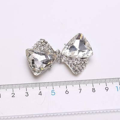 5pcs 3D Alloy Flat Back Rhinestone Cabochon Bowknot for DIY Phone Decoration