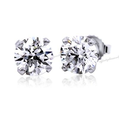 1/2 Carat Round D/VVS1 4-Prong Stud Earrings 14K White Gold Over Silver