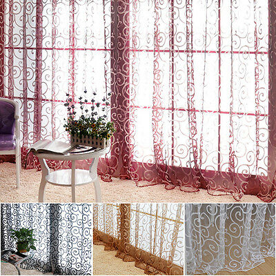 Decal Decor Floral Tulle Voile Door Window Curtains Drape Sheer Scarf Valances