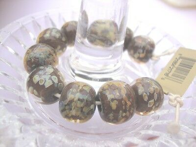 10 Vintage Lampwork beads Marble Round-by Unicorn in USA over 10 yrs old-#21716