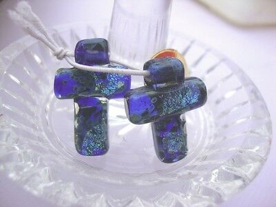 2 Vintage Lampwork beads Crosses-by Unicorn in USA over 10 yrs old-#21628