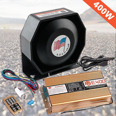 400W 8 Sound Loud Car Warning Alarm Police Fire Siren Horn PA Speaker MIC System