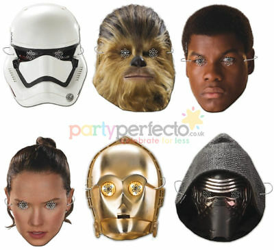 6 Star Wars Masks - Official Disney - Party Toy Loot Cardboard Gift Kids