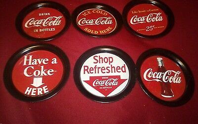 """Vintage Set of 6 COCA COLA METAL COASTERS  1993 3.5"""" wide all different used"""