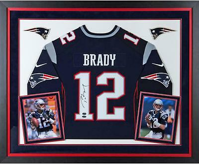 Tom Brady New England Patriots Signed Deluxe Framed Nike Elite Navy Jersey