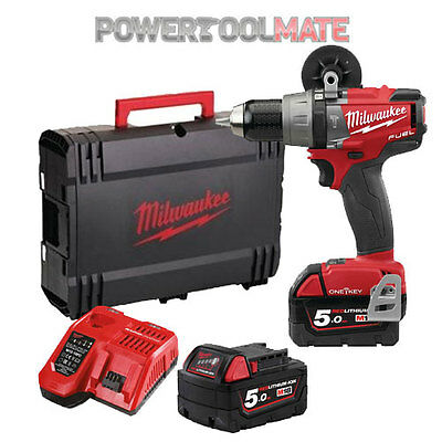 Milwaukee M18ONEPD-502X One Key Fuel Brushless Combi Drill Kit c/w 2 x 5Ah Batts