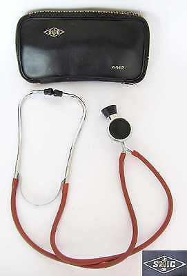 Vintage Medical Metal & Rubber Binaural Stethoscope In Original Leather Case Smi
