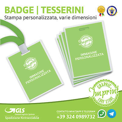 BADGE TESSERINI PORTA DOCUMENTI personalizzati a colori e PLASTIFICATI