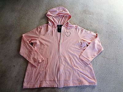NWT New Additions Maternity PInk Hood Full Zipper Light Sweatshirt/Jacket Sz.L