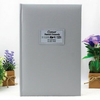 Baby Birth Details Photo Album - Silver - 300 - Made to Order