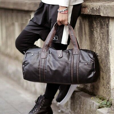 AU Men Large Capacity Luggage Leather Travel Shoulder Bag Duffle Gym Bags Tote