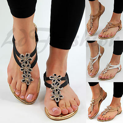 a9802e01d24 New Womens Flat Sandals Ankle Strap Toe Post Flower Embellished Summer Shoes