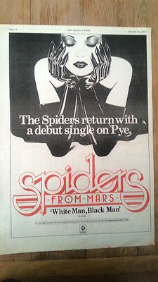 SPIDERS FROM MARS White Man 1975 UK Poster size Press ADVERT 16x12 inches Bowie
