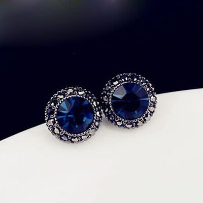 Antique Style 925 Sterling Silver Plated Blue Sapphire Stud Earring Vintage Look