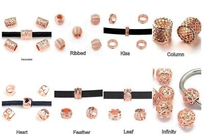 DQ Large Hole ROSE GOLD Slider Spacer Beads - Inner Hole 5mm-7mm - lady-muck1