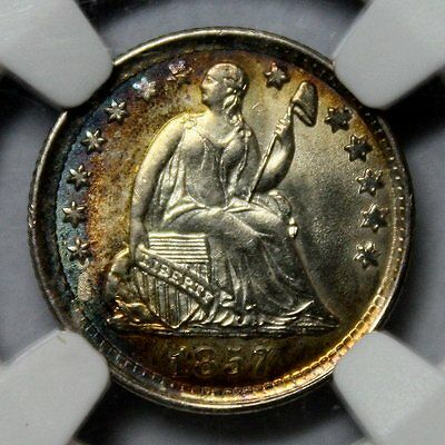 1857 Liberty Seated Half Dime * NGC MS64 * Fantastically Toned Beauty