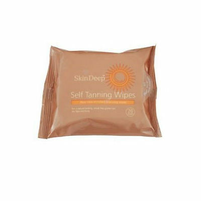 Skin Deep Self Tanning Wipes - 20 Pack Easy Glowing Natural Bronzer Aloe Vera