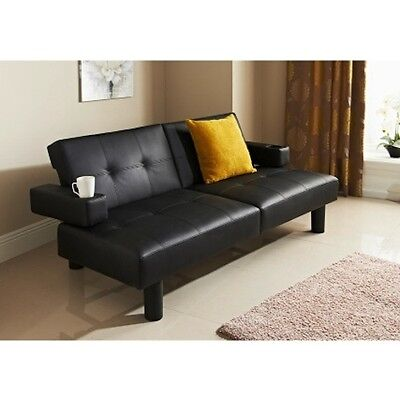 NEW Luxury DESIGN Style Fold Down Sofa Bed Black Faux Leather WITH CUP HOLDER