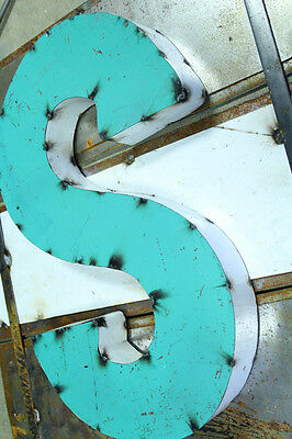 "20"" 2-Tone Industrial Rustic Block Letter S Sign, Teal/White Open Back"