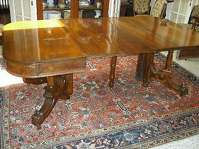 Walnut & Walnut veneer Sq. Victorian Ren Rev ext.dining table/3 leaves