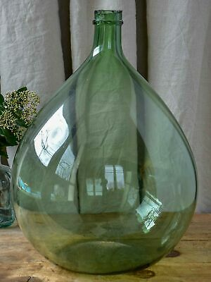 "Antique French demijohn - Dame Jeanne bottle 22"" green / blue"