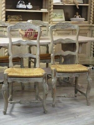 Four 19th century Gustavian farmhouse chairs - Antique French dining chairs