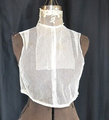 dicky lace net white high neck Victorian Edwardian antique original 1860