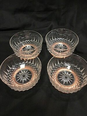 Lot of FOUR 4 Arcoroc France Glass Bowls Copper Metal Pedestal Diamant Starbust