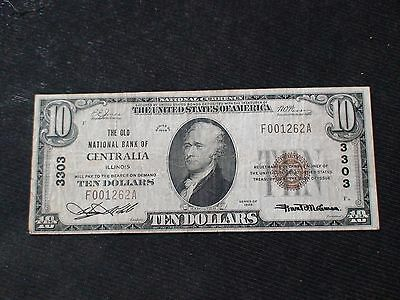 1929 Ten Dollar Type 1 Note The Old National Bank Of Centralia Illinois $10 Bill
