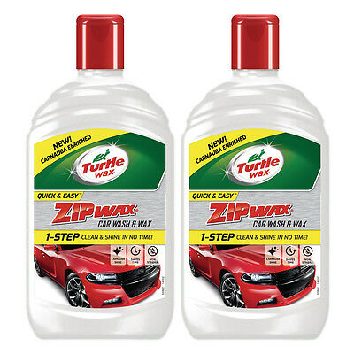 2 x Turtle Wax Zip Wax Car Wash & Wax Shampoo Cleaner Carnauba Shine - 1L