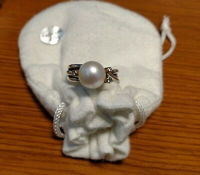 New Retired Pandora Woven Splendor Ring 190158D Pearl and Diamonds Size 50/US 5