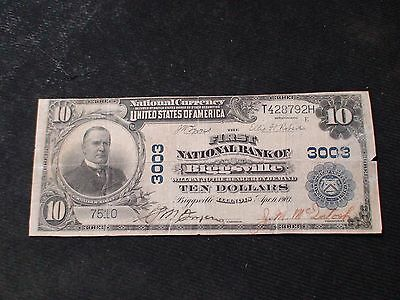 1902 Plainback $10 Note The First National Bank Of Biggsville, IL RARE $10 Bill