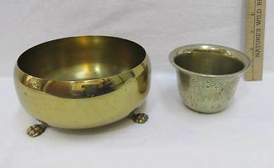 Brass Footed Bowl and Etched Asian Design Bowl Creature in Waves Trinket Vtg
