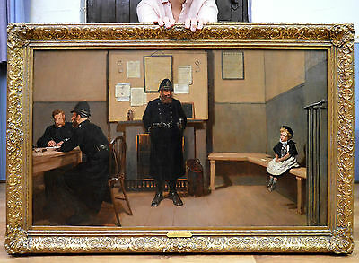 Very Large Fine 19th Century Royal Academy Oil Painting of Lost Child & Police