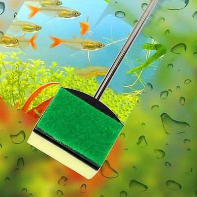 Aquarium Glass Brush Fish Tank Cleaning Tool Stainless Steel Handle Clean
