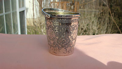 Antique Persian 84 Silver Cup, Mini Bucket With Handle