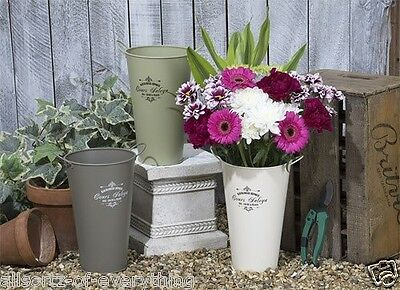 2 x Vintage Metal Vase Flower Pot Shabby Chic Cream Brown Green with Handles