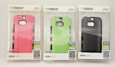 Lot of 18 TRIDENT AEGIS Tough Cases for HTC One M8 in Black, Pink & Green NIB