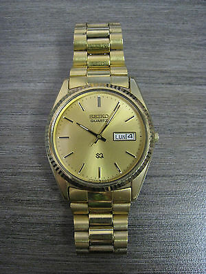 Vintage 1983 Seiko 5H23-8020 Quartz 3-Jewels Dress Gold-T DayDate Men's Watch