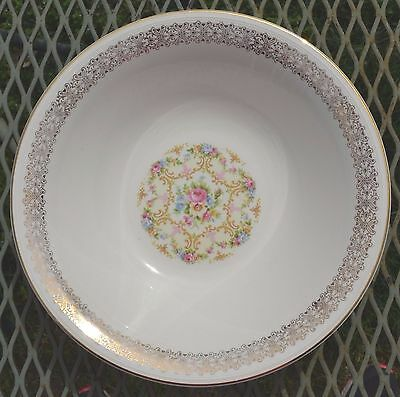 Vintage Semi Vitreous Floral Serving Bowl Edwin M. Knowles China Co. USA 41-8