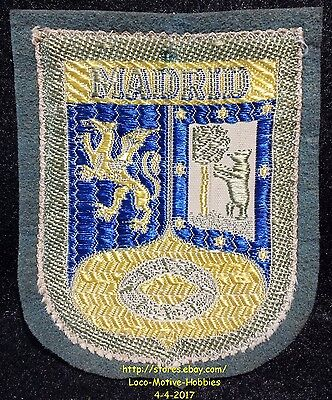 LMH PATCH Woven Badge MADRID Griffin Winged Lion COAT ARMS Bear Tree SPAIN gn