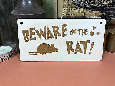 BEWARE OF THE RAT SIGN wooden hanger plaque fab funny wood gift top quality