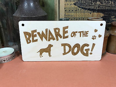 BEWARE OF THE DOG SIGN wooden hanger house plaque fab animal dog lover wood gift