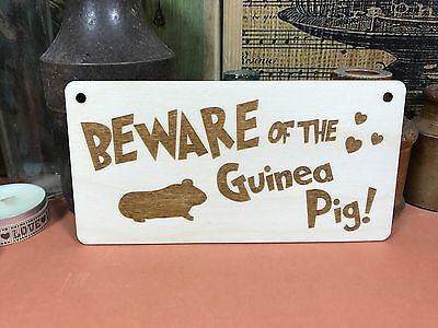 BEWARE OF THE GUINEA PIG SIGN wooden hanger house plaque fab pet wood gift