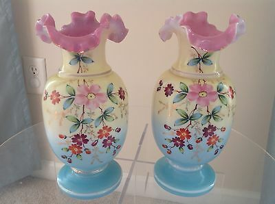 PAIR Of ANTIQUE VICTORIAN RUFFLED EDGE HAND PAINTED BRISTOL VASES PASTEL COLORS