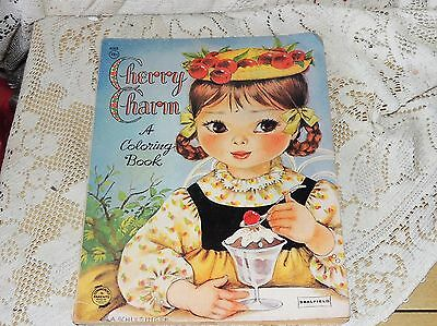 VTG Saalfield Cherry Charm Color Book, Little Girl Eating Ice Cream Sundae